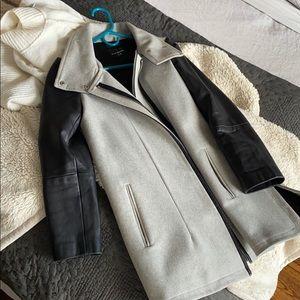 Club Monaco wool coat with leather sleeves